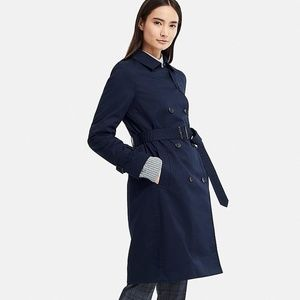 Uniqlo Insulated Belted Trench Coat Navy Blue Sz S